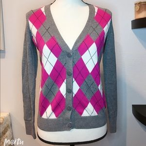 Tommy Hilfiger Grey Argyle Buttoned Sweater